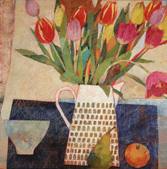 Sally Anne Fitter, Original acrylic painting on canvas, Orange and Spring Tulips No frame image. Click to enlarge
