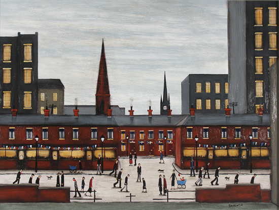 Sean Durkin, Original oil painting on panel, The Town Centre No frame image. Click to enlarge