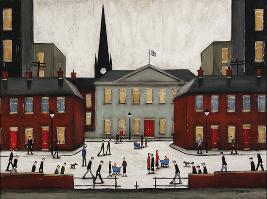 Sean Durkin, Original oil painting on panel, The Town Square No frame image. Click to enlarge
