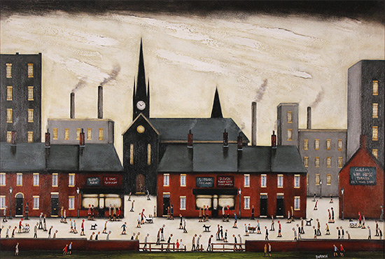 Sean Durkin, Original oil painting on panel, Tales of the Town No frame image. Click to enlarge