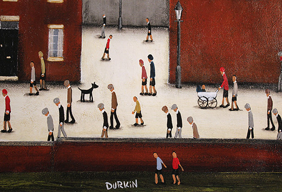 Sean Durkin, Original oil painting on panel, Tales of the Town Signature image. Click to enlarge