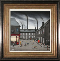 Sean Durkin, Original oil painting on panel, Street Games and Swirling Skies