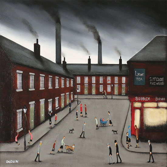 Sean Durkin, Original oil painting on panel, Smokestack Symphony