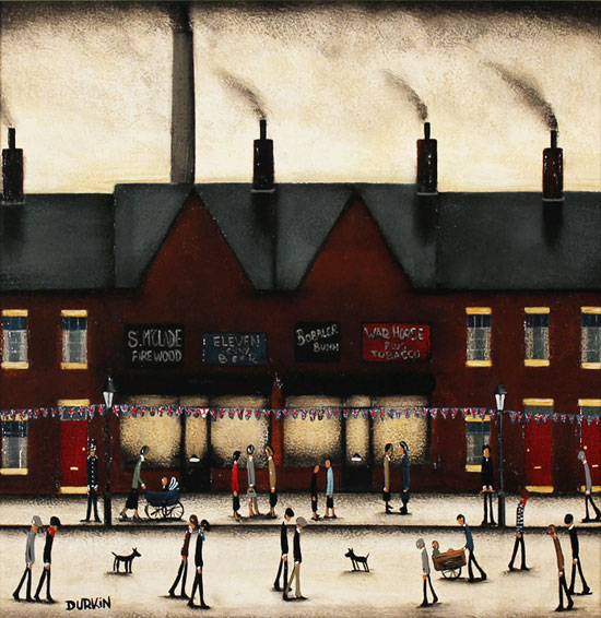 Sean Durkin, Original oil painting on panel, Tales from Red Brick Lane No frame image. Click to enlarge