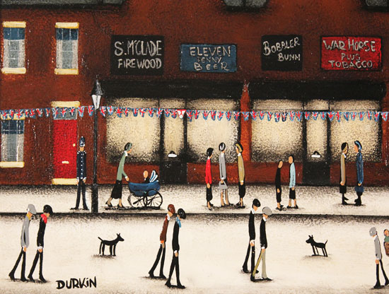 Sean Durkin, Original oil painting on panel, Tales from Red Brick Lane Signature image. Click to enlarge