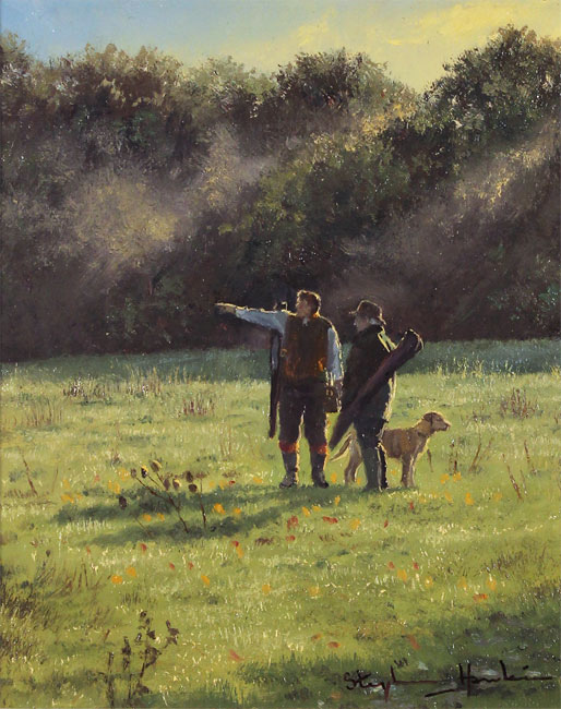 Stephen Hawkins, Original oil painting on panel, The Gamekeepers No frame image. Click to enlarge