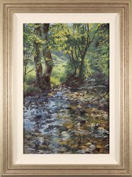 Stephen Hawkins, Original oil painting on panel, Woodland Stream