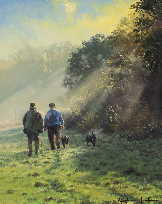 Stephen Hawkins, Original oil painting on canvas, The Gamekeepers No frame image. Click to enlarge