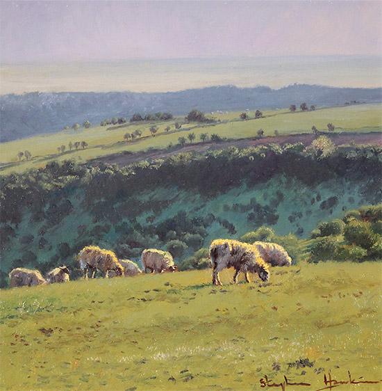 Stephen Hawkins, Original oil painting on panel, Summer Pasture, Swaledale No frame image. Click to enlarge