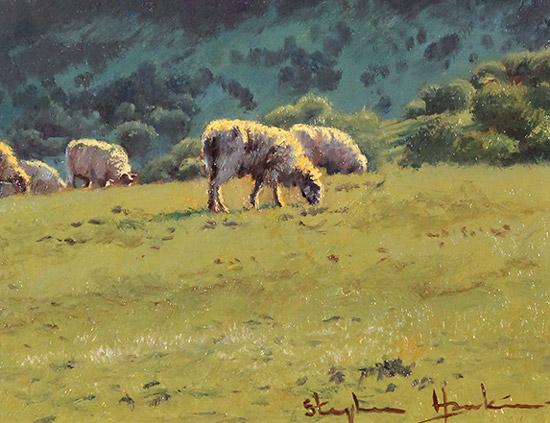 Stephen Hawkins, Original oil painting on panel, Summer Pasture, Swaledale Signature image. Click to enlarge