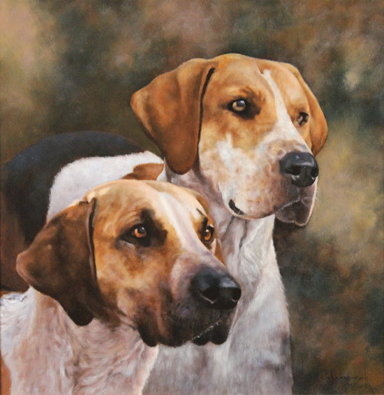 Stephen Park, Original oil painting on panel, Hounds No frame image. Click to enlarge