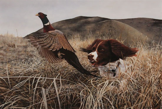Stephen Park, Original oil painting on panel, Spaniel Flushing No frame image. Click to enlarge