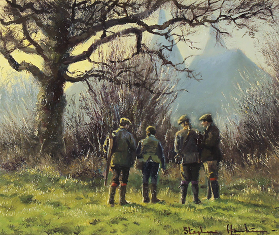 Stephen Hawkins, Original oil painting on canvas, The Shooting Party, North Yorkshire No frame image. Click to enlarge