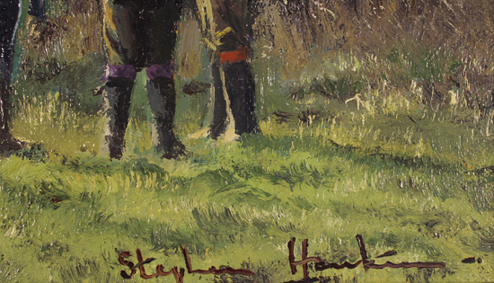 Stephen Hawkins, Original oil painting on canvas, The Shooting Party, North Yorkshire Signature image. Click to enlarge