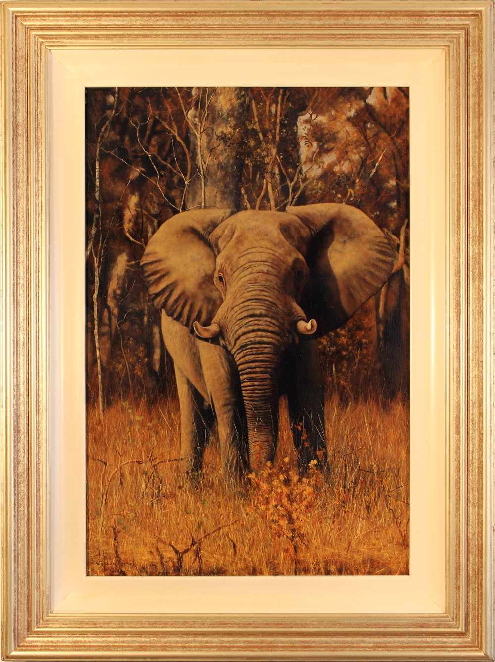 Stephen Park, Original oil painting on panel, Elephant Click to enlarge