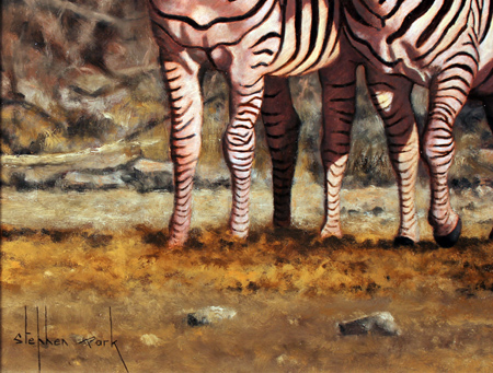Stephen Park, Original oil painting on panel, Serengeti Zebras Signature image. Click to enlarge