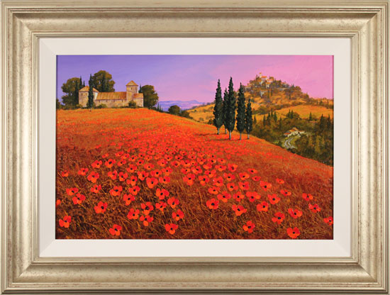 Steve Thoms, Original oil painting on panel, Fields of Tuscany