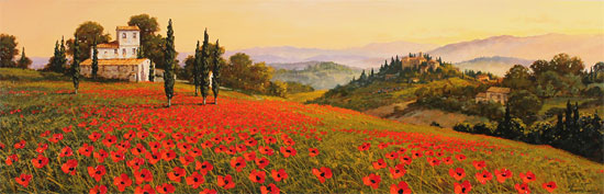 Steve Thoms, Original oil painting on panel, Rolling Hills of Tuscany