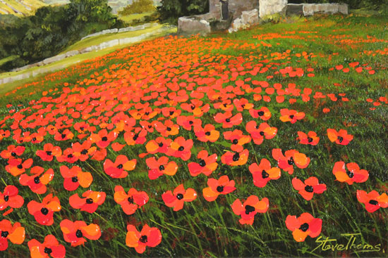 Steve Thoms, Original oil painting on panel, Poppy Field, Yorkshire Dales Signature image. Click to enlarge