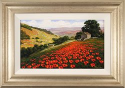 Steve Thoms, Original oil painting on panel, Poppy Field, Yorkshire Dales