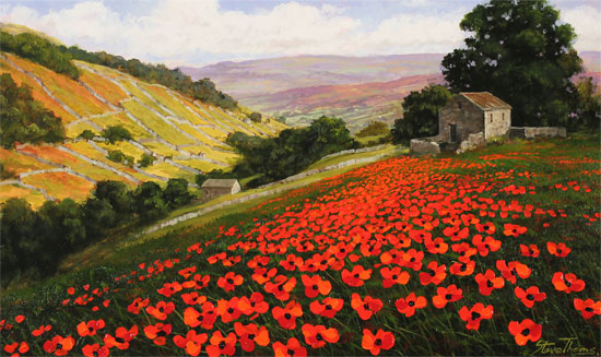 Steve Thoms, Signed limited edition print, Poppy Field, Yorkshire Dales No frame image. Click to enlarge