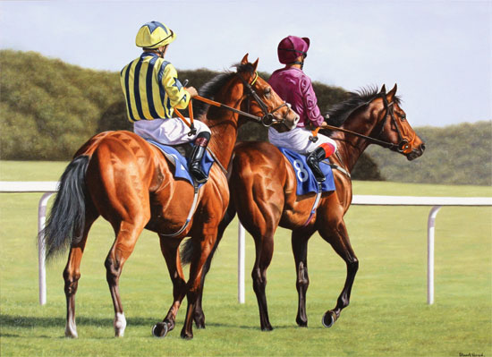 Stuart Herod, Original oil painting on canvas, Off to the Starting Gate
