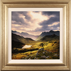 Suzie Emery, Original acrylic painting on board, Langdale Pikes, Lake District