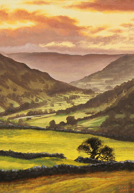 Suzie Emery, Original acrylic painting on board, Swaledale Sunset