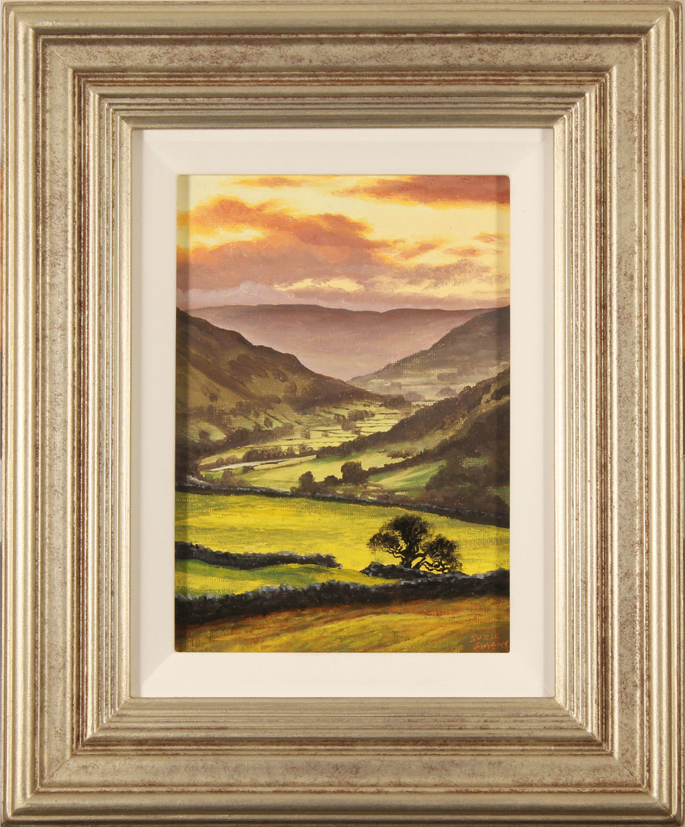 Suzie Emery, Original acrylic painting on board, Swaledale Sunset Click to enlarge