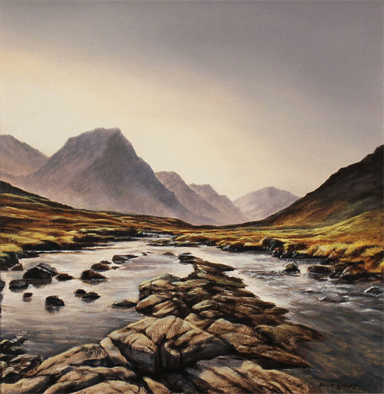 Suzie Emery, Original acrylic painting on board, Glen Etive, Scotland