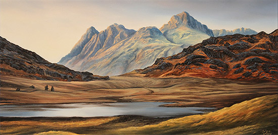 Suzie Emery, Original acrylic painting on board, Langdale Pikes, Blea Tarn  No frame image. Click to enlarge