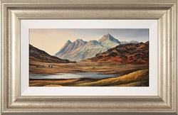 Suzie Emery, Original acrylic painting on board, Langdale Pikes, Blea Tarn  Medium image. Click to enlarge
