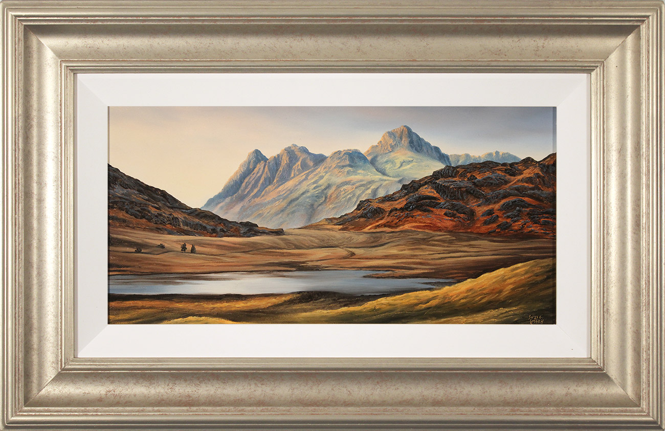 Suzie Emery, Original acrylic painting on board, Langdale Pikes, Blea Tarn  Click to enlarge