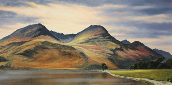 Suzie Emery, Original acrylic painting on board, High Stile, Buttermere  No frame image. Click to enlarge