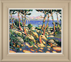 Terence Clarke, Original oil painting on canvas, Rocks and Pines, Cap Ferrat