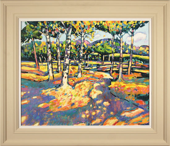 Terence Clarke, Original oil painting on canvas, Falling Leaves, Autumn
