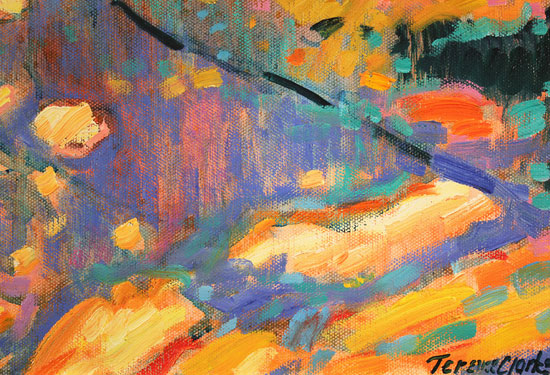 Terence Clarke, Original oil painting on canvas, Falling Leaves, Autumn Signature image. Click to enlarge