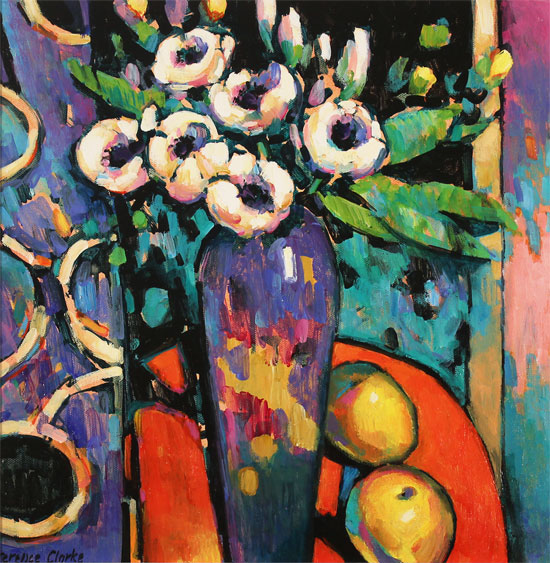 Terence Clarke, Original acrylic painting on canvas, Magnolias  No frame image. Click to enlarge