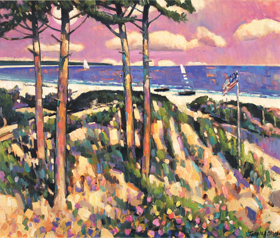Terence Clarke, Original oil painting on canvas, Moonrise, Cape Cod No frame image. Click to enlarge