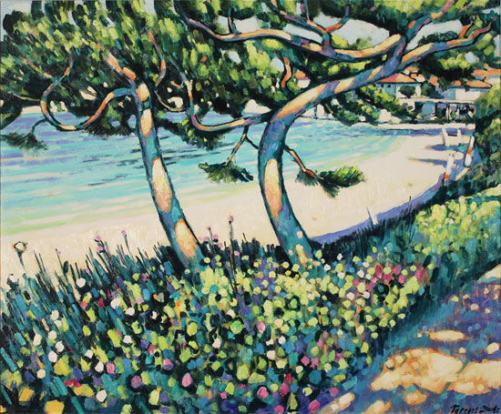 Terence Clarke, Original acrylic painting on canvas, Pine Shadows, Cap Ferrat No frame image. Click to enlarge