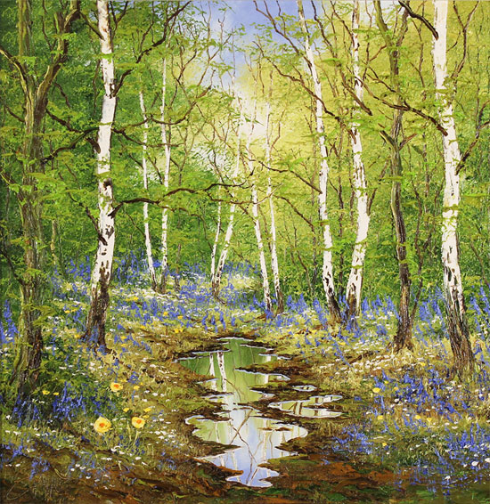 Terry Evans, Original oil painting on canvas, Birch and Bluebell