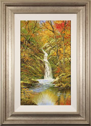 Terry Evans, Original oil painting on canvas, Autumn Gold, Janet's Foss, North Yorkshire