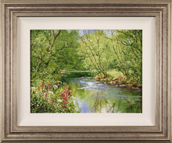Terry Evans, Original oil painting on canvas, Across the Stepping Stones, Yorkshire Dales