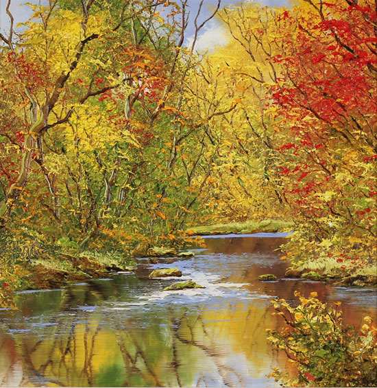 Terry Evans, Original oil painting on canvas, Autumn Gold No frame image. Click to enlarge