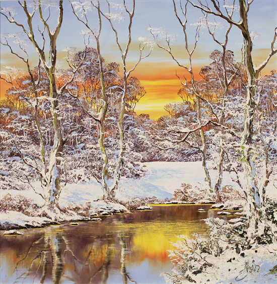 Terry Evans, Original oil painting on canvas, Winter Walk, Yorkshire Dales