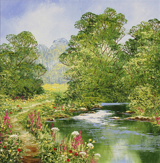 Terry Evans, Original oil painting on canvas, Riverside Walk No frame image. Click to enlarge
