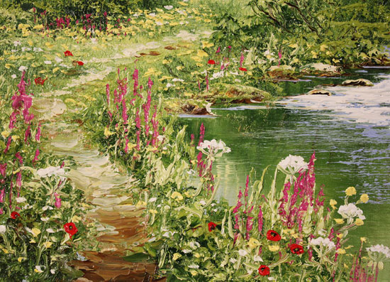 Terry Evans, Original oil painting on canvas, Riverside Walk Signature image. Click to enlarge