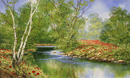 Terry Evans, Original oil painting on canvas, Woodland Poppies No frame image. Click to enlarge