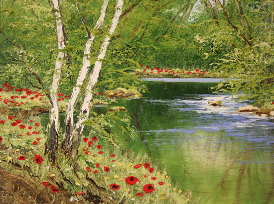 Terry Evans, Original oil painting on canvas, Woodland Poppies Signature image. Click to enlarge