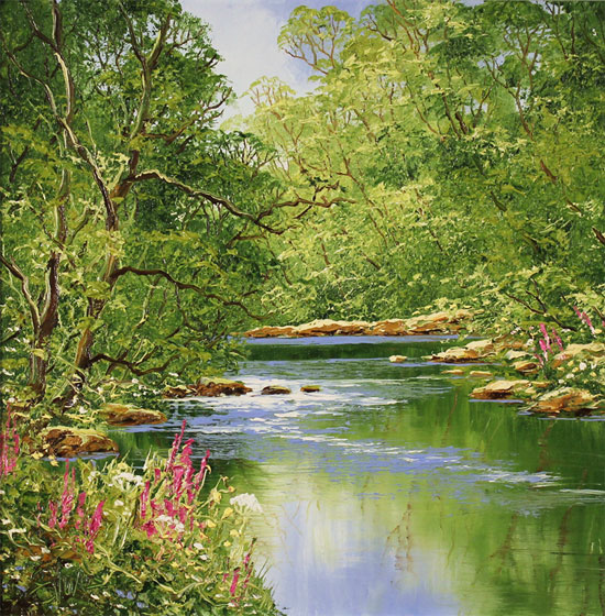 Terry Evans, Original oil painting on canvas, Woodland Stream No frame image. Click to enlarge